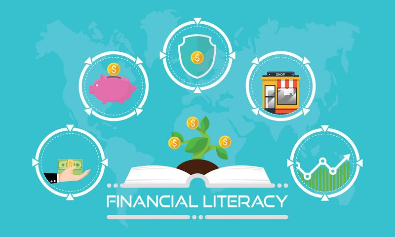 Financial literacy course concept. design by opened book for wealth growth by knowledge of cash reserves, savings money, protect fund, invest in business and stock market investment. Vector illustration.